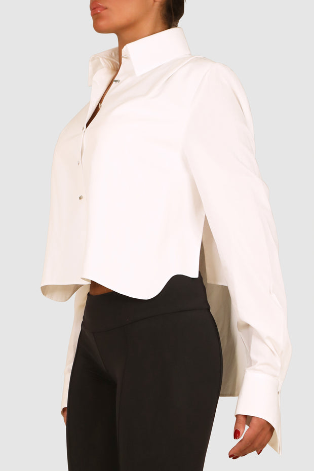 Cropped cotton-poplin shirt