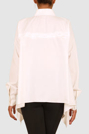 White cotton-poplin detachable back shirt