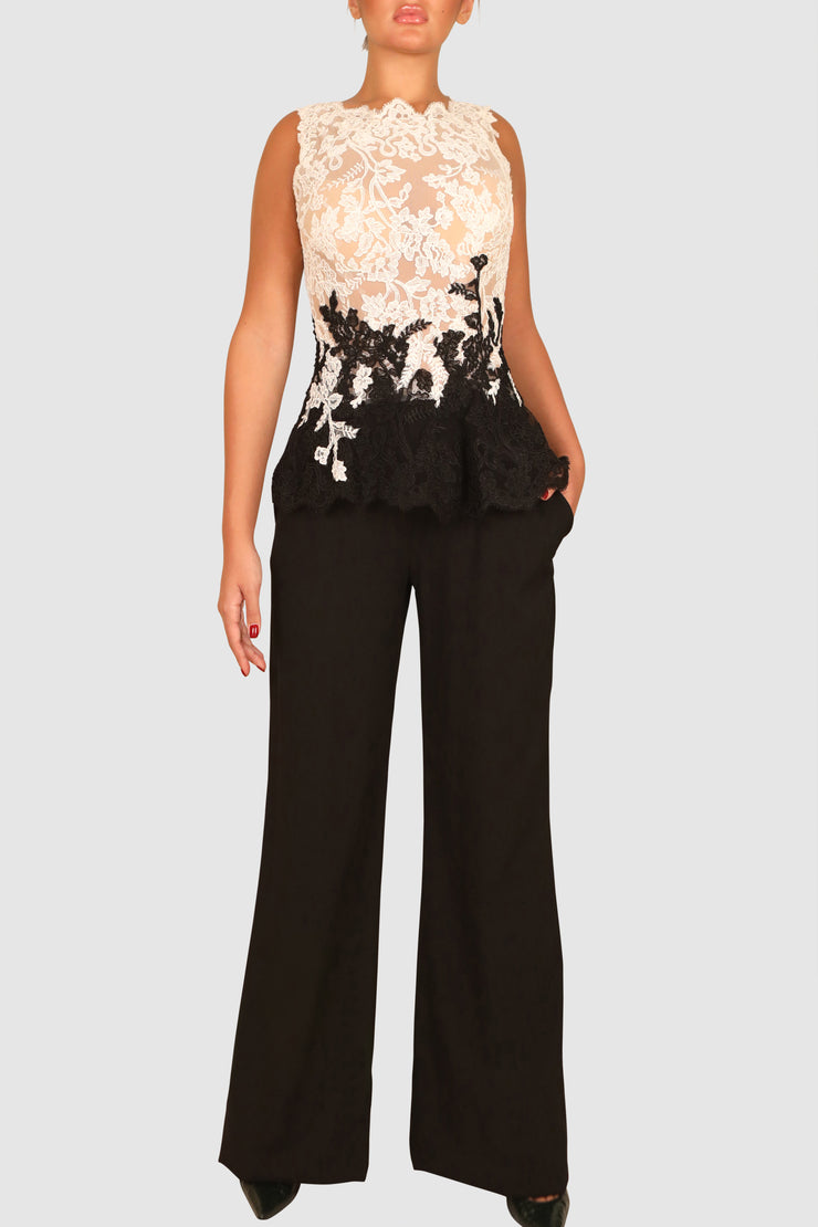 Two-tone lace and crepe jumpsuit