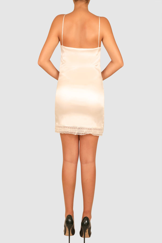 Pussy-bow sleeveless asymmetric dress
