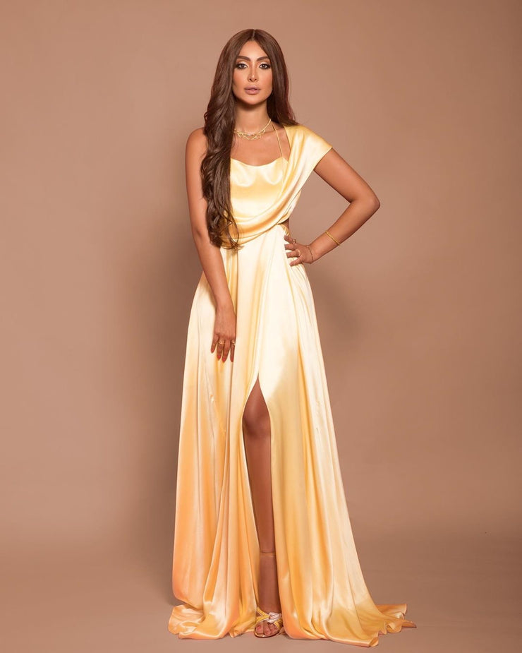Silk satin off-shoulder gown Customized
