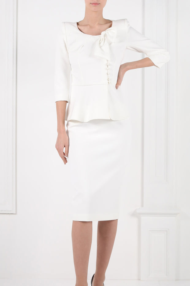 Peplum Trimmed Skirt-Suit