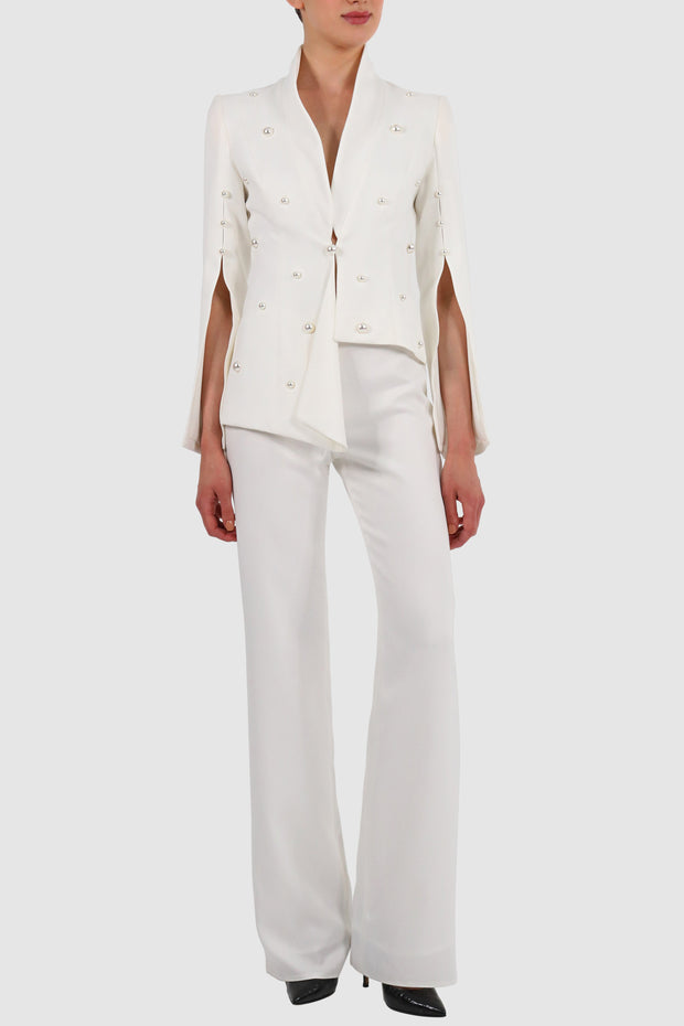 Asymmetric draped faux-pearl embellished suit