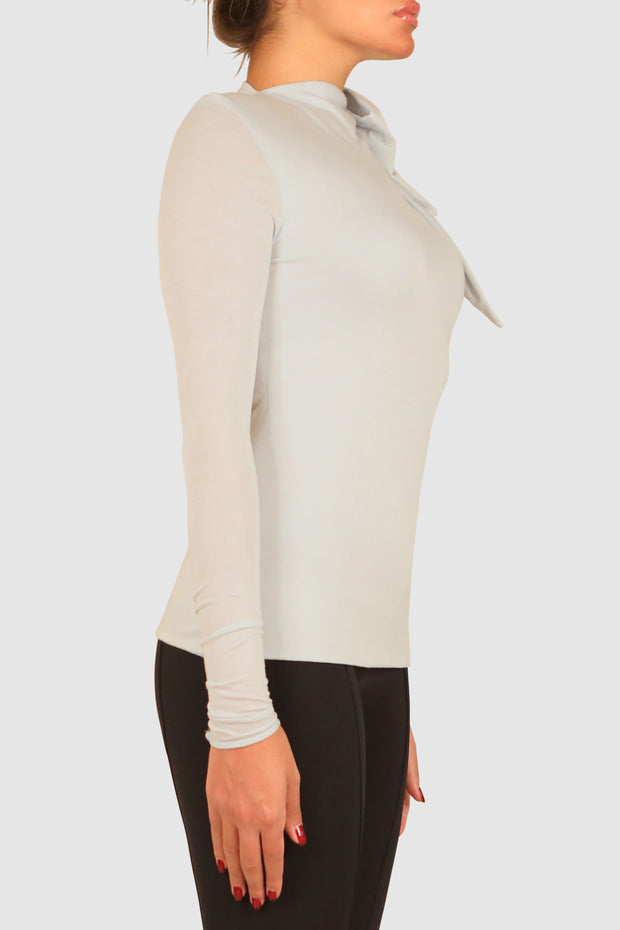 One-sleeve high collar cotton top
