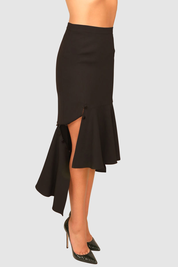Asymmetric pleated crepe midi skirt