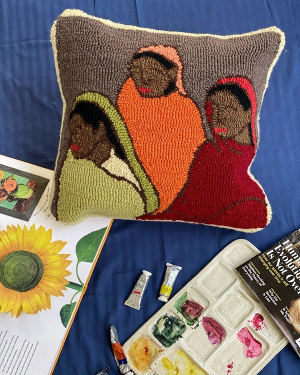 Three Girls: Tufted wool cushion 18x18""
