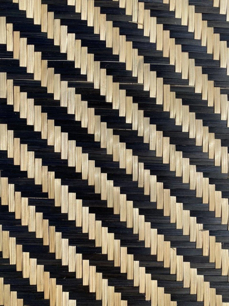 """Monochrome Candy Stripe"" Handwoven Bamboo Wall Plate Square"