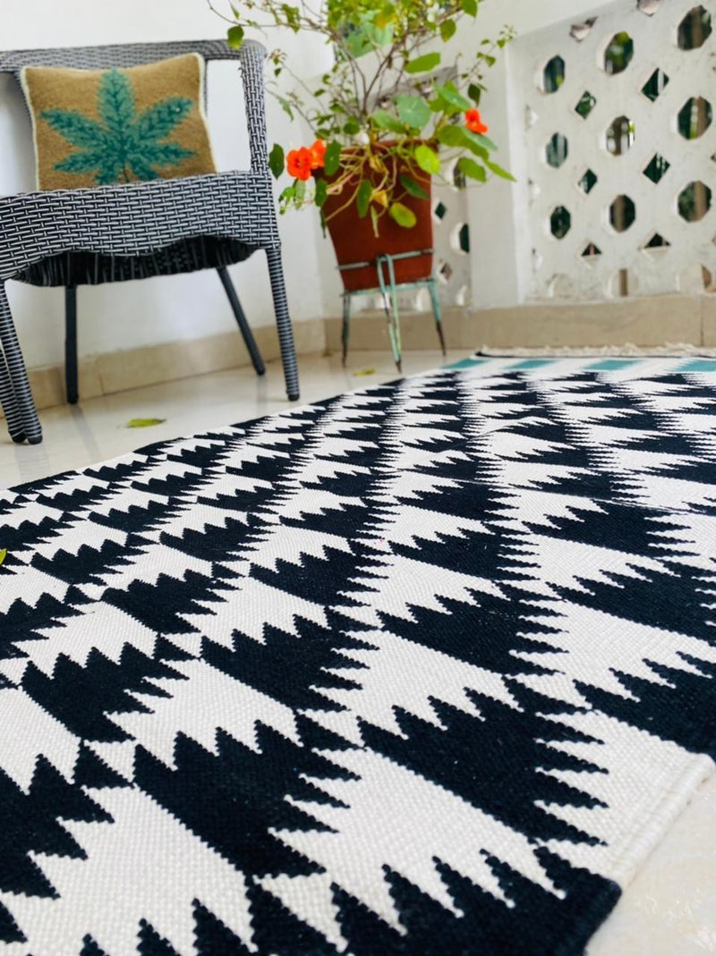 Monochrome Teal Rug 3x5ft