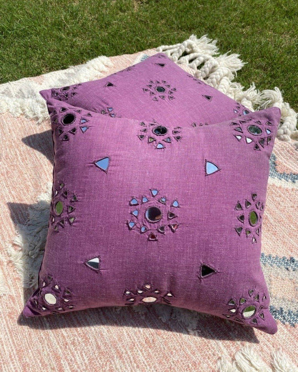 Mauve mirror work Rabari cushion