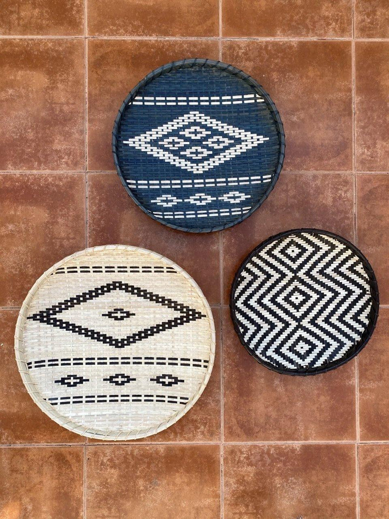 Assorted Handwoven Bamboo Wall Plates - Set of 3