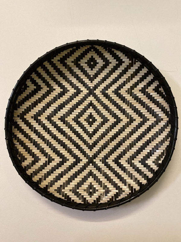 """Monochrome"" Handwoven Bamboo Wall Plate"