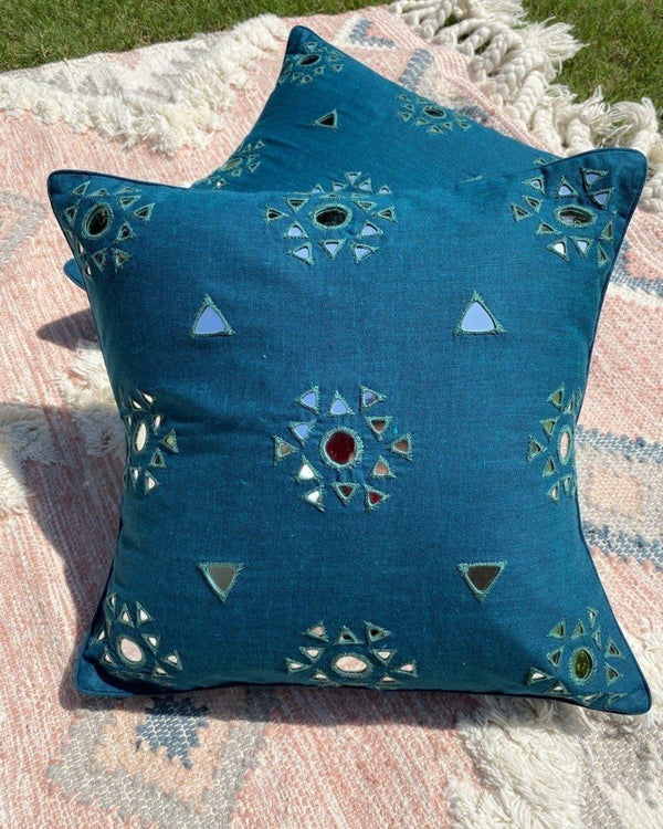 Blue mirror work Rabari cushion