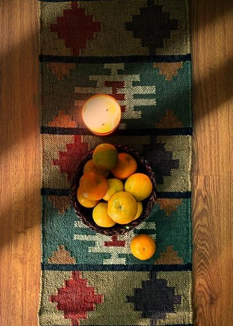 """Waters of Anatolia"" Jute blend Kilim table runner"