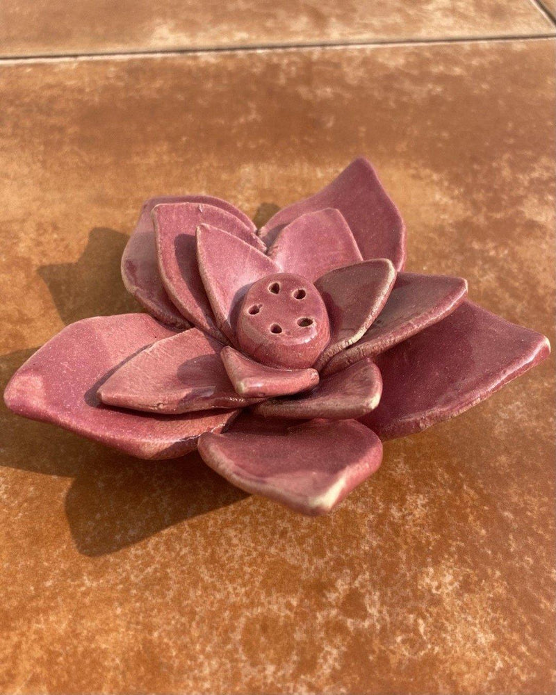 Ceramic Stoneware Lotus Incense stand (Magenta)