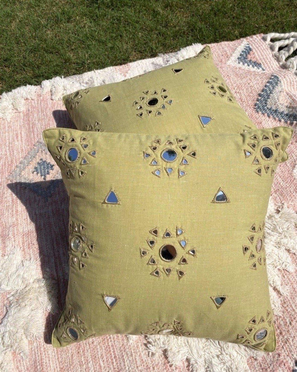 "Imarti - Rabari Mirror-work cushions (16x16"") Green"