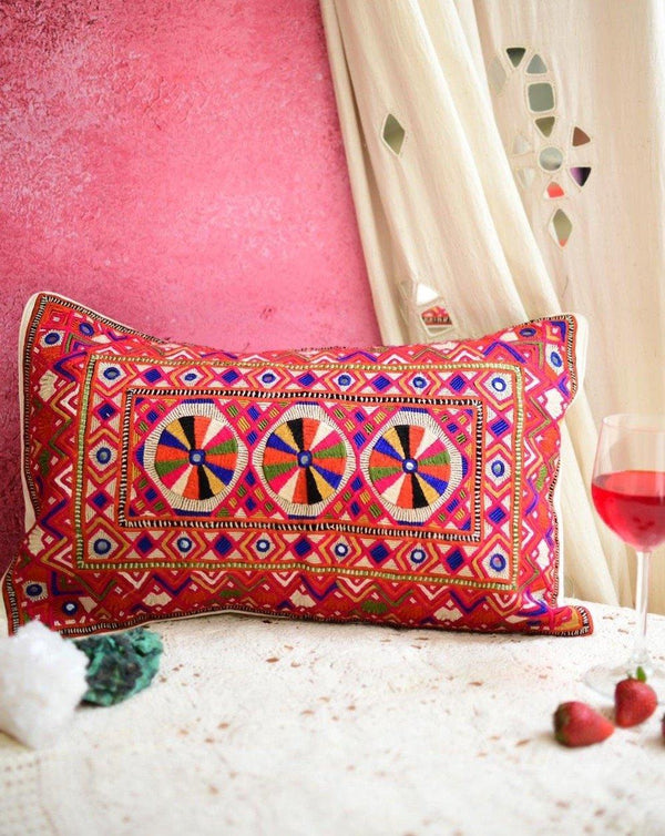 Multicolour Agothi Mirrorwork Cushion 12x20""