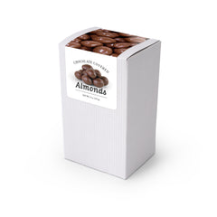 "Almonds, Chocolate Covered, 5"" White Box 48ct/4oz"