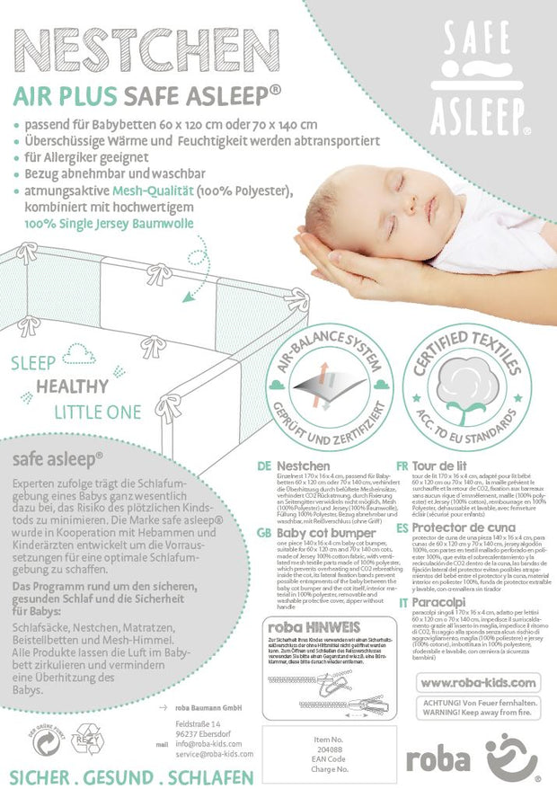 safe asleep® roba Nestchen Air PLUS 'miffy®', luftzirkulierendes -Nestchen, mit AIR-balance System