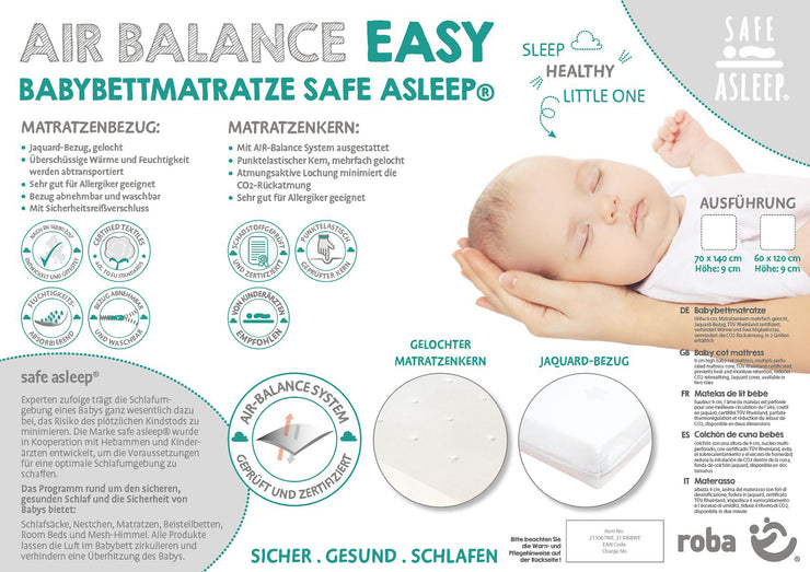 Babybettmatratze 'safe asleep®', AIR BALANCE EASY, 70 x 140 x 9 cm, für optimales Schlafklima