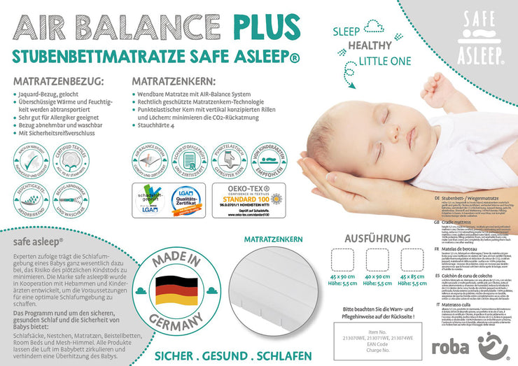Wiegenmatratze 'safe asleep®', AIR BALANCE PLUS, 40 x 90 x 5,5 cm, für optimales Schlafklima