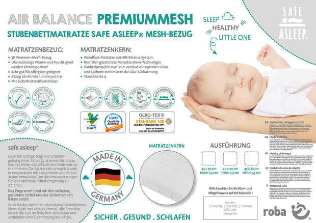 safe asleep® roba Stubenbettmatratze AIR BALANCE PREMIUMMESH, 45 x 90 x 5,5cm, optimales Schlafklima