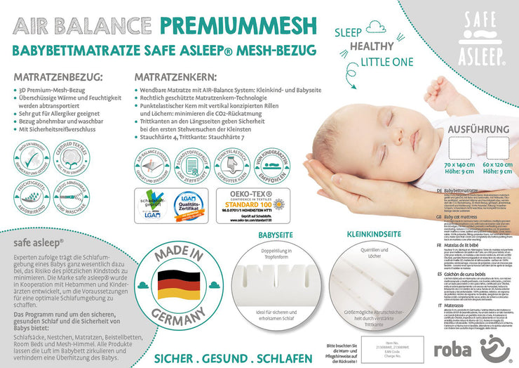 safe asleep® roba Babybettmatratze AIR BALANCE PREMIUMMESH, 70x140x9 cm, optimales Schlafklima