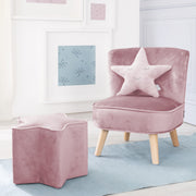 Bundle 'Lil Sofa' enthält Kindersessel, Kinderhocker in Sternform, Dekokissen Stern rosa/mauve