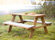 Kindersitzgruppe 'Outdoor+', wetterfeste Sitzgarnitur 'Picknick for 4', Massivholz, Teak-Optik