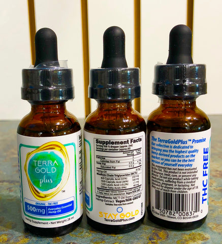 TERRA GOLD PLUS 500mg - CBD Oil - Sublingual Drops - THC FREE - 30ml :: (3) THREE Bottles