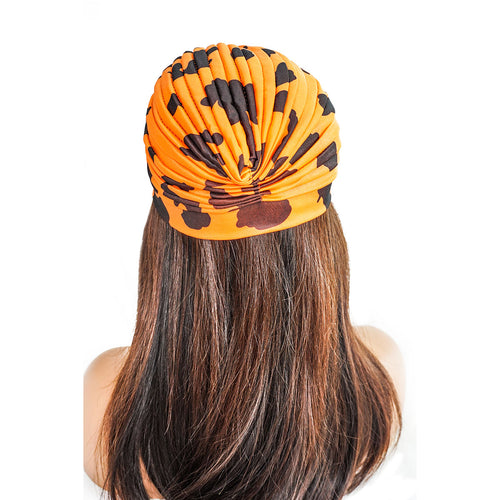 ORANGE COW PRINT | TURBAN