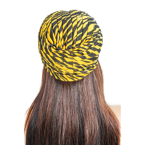 YELLOW ZEBRA PRINT  | TURBAN