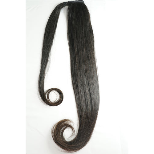 NATURAL COLOR (1B/2) STRAIGHT | WRAP PONYTAIL HAIR EXTENSION