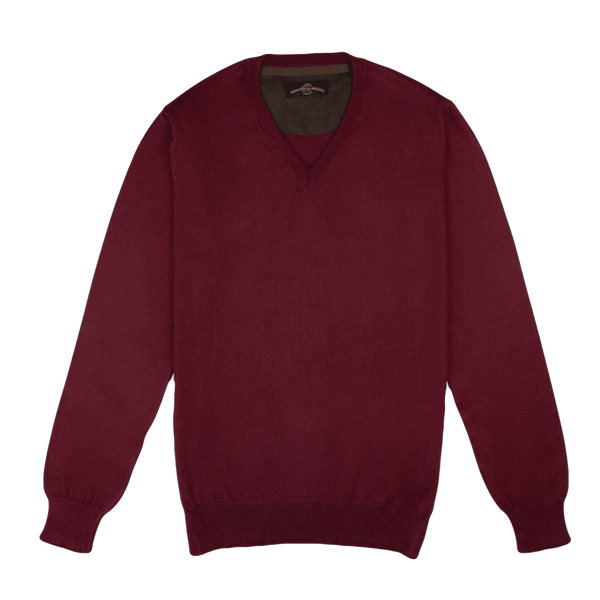 V Neck Bordeaux Pullover