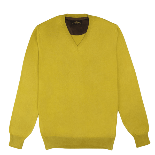 V Neck Yellow Pullover
