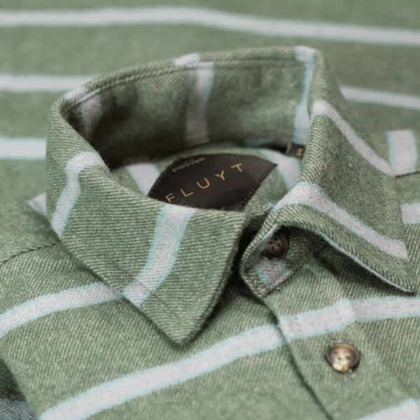 Green Flannel Shirt With Grey Stripes