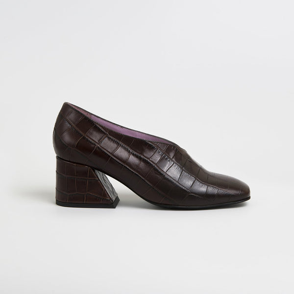 DALE - Brown Leather Mid Heel Pumps