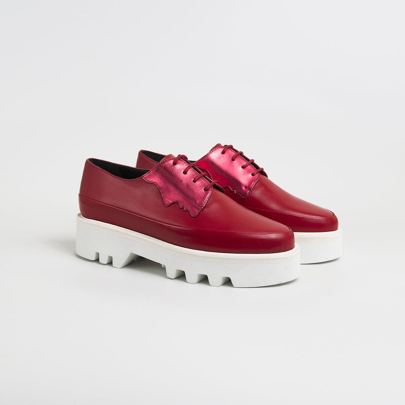 2 FACED - Magenta/Red Leather Platform Creepers
