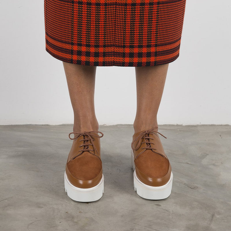 STEP UP - Camel Leather Platform Creepers