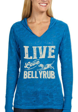 Live, Love, Bellyrub No. 01 Paisley Burnout Hoodie
