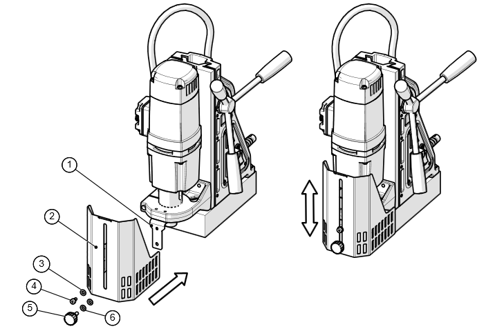 fitting a movable magnet drill guard