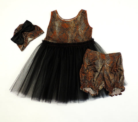 Petite Doucette | fairy dress set with bloomers earthy python