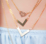 taudrey ~ petite heart rose gold initial necklace