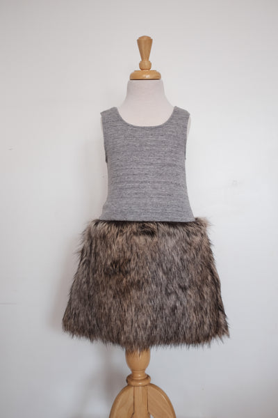 Doucette | jane dress jersey with fur