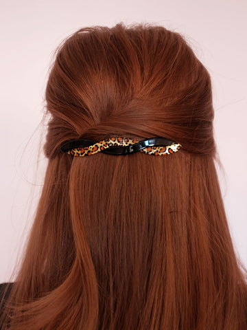 made in france hair accessories | leopard barrettes