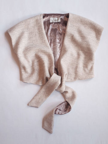 Doucette | misty wrap top in pink wool