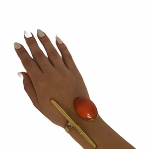 Soldered  Amber Stone Double Cuff