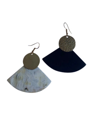Horn, Brass Half Moon Earrings