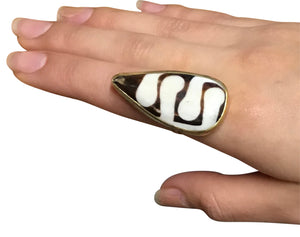 Batik Bone, Horn & Brass Adjustable Rings