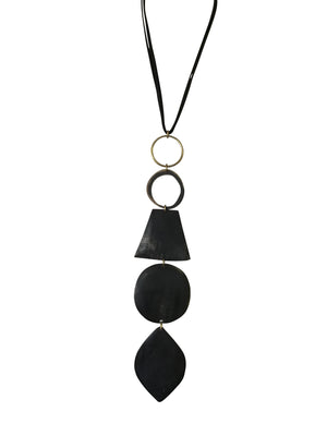 Black Horn with Brass Circular Pendants