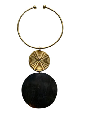Suize Horn Disk & Brass Choker Necklace
